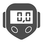 istock Bicycle speedometer solid icon, bicycle concept, speedometer sign on white background, Bike computer icon in glyph style for mobile concept and web design. Vector graphics. 1251991430