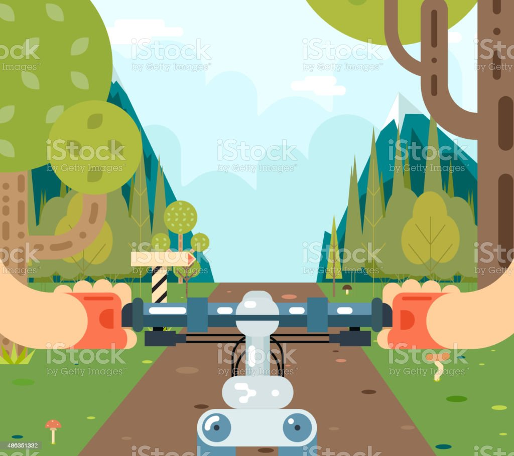 Bicycle Steering Wheel Riding Forest Tourism and Journey Symbol Travel vector art illustration