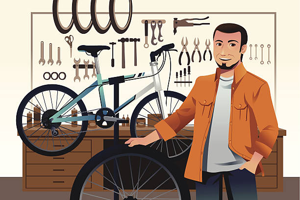 bicycle store owner in his bike repair shop - small business owner stock illustrations