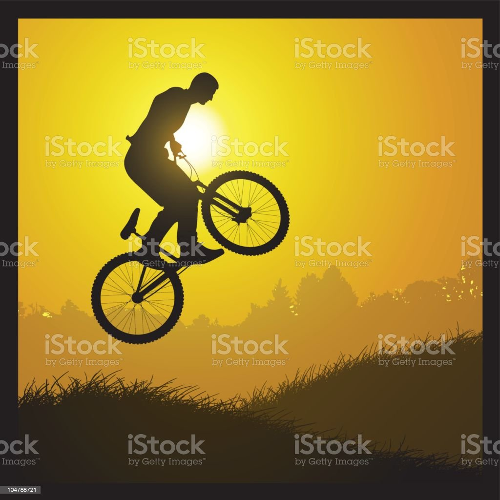 bicycle sunset royalty-free stock vector art