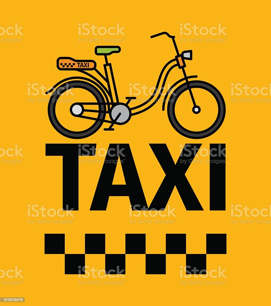 Bicycle taxi transport poster vector art illustration