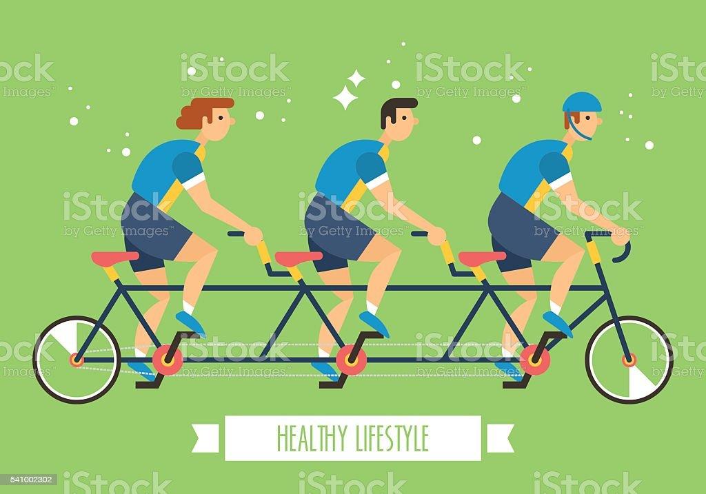 equipa de bicicleta em bicicleta de vários postos de trabalho