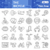 Bicycle thin line icon set, bike symbols collection or sketches. Bicycle parts and accessories linear style signs for web and app. Vector graphics isolated on white background