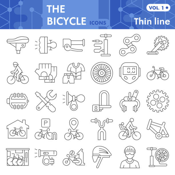 자전거 얇은 선 아이콘 세트, 자전거 기호 컬렉션 또는 스케치. 자전거 부품 및 액세서리 선형 스타일 표시 웹 및 응용 프로그램. 흰색 배경에 격리 된 벡터 그래픽. - 모자 모자류 stock illustrations