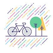Line vector illustration of outdoor recreation.