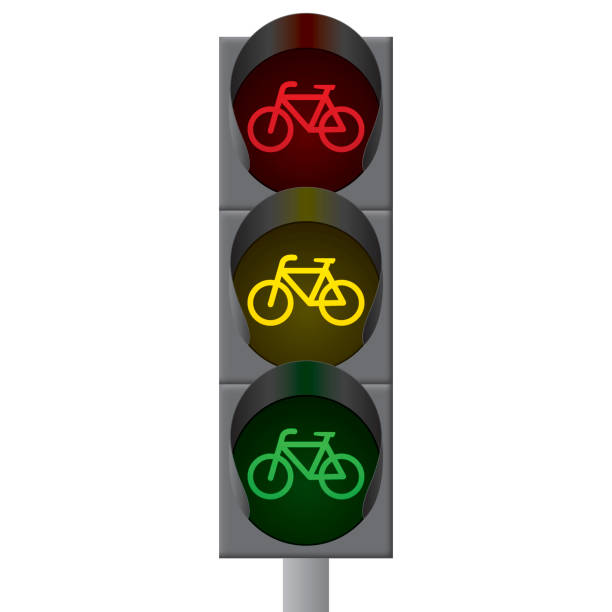 fahrrad ampel. vektor - straßenschilder stock-grafiken, -clipart, -cartoons und -symbole