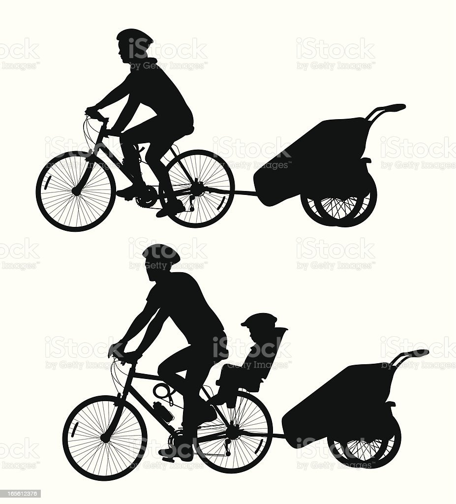 Bicycle Trailer Vector Silhouette vector art illustration