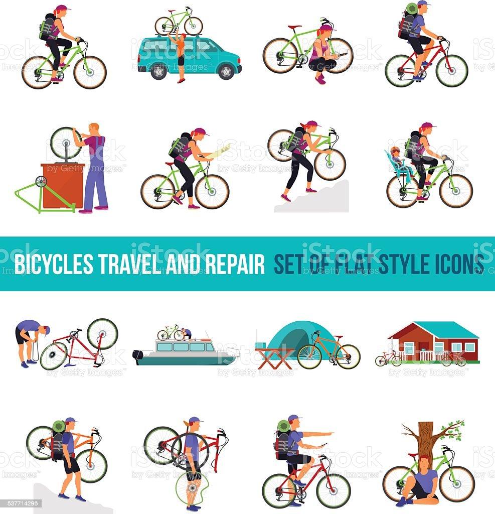 Bicycle travel. Vectof set flat icon. 4x4 vector art illustration