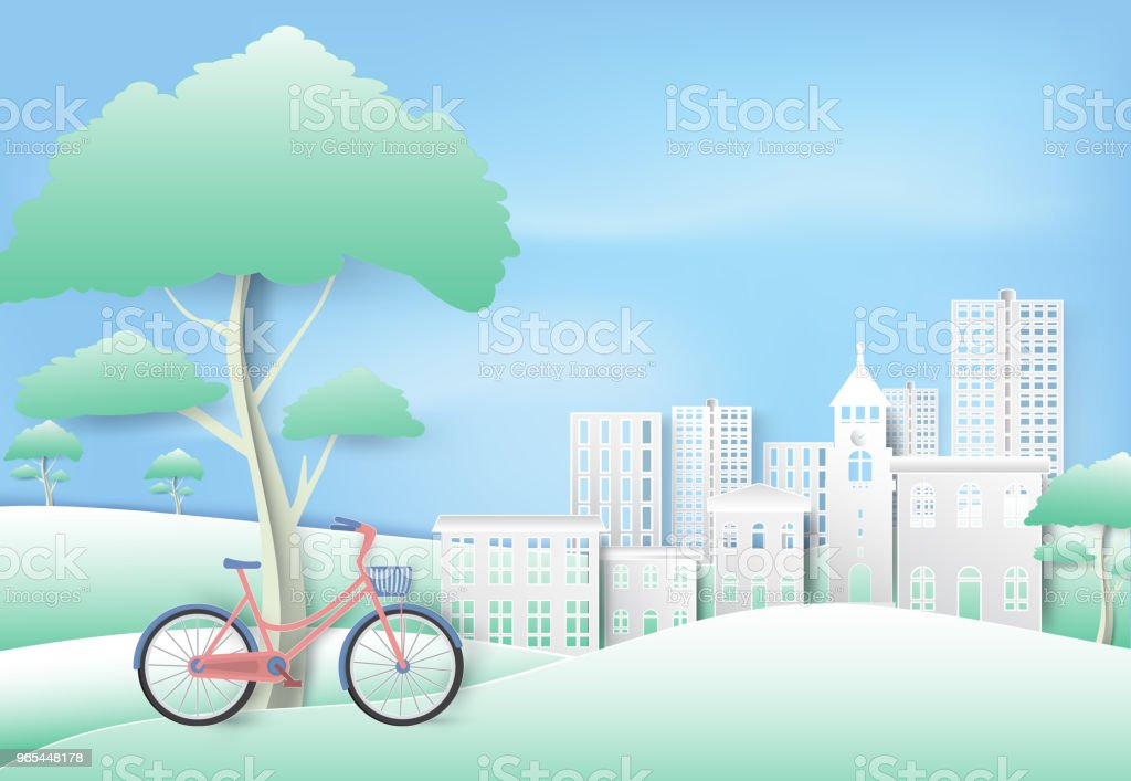 Bicycle under the tree in park on blue sky paper art, paper cut style background royalty-free bicycle under the tree in park on blue sky paper art paper cut style background stock vector art & more images of art
