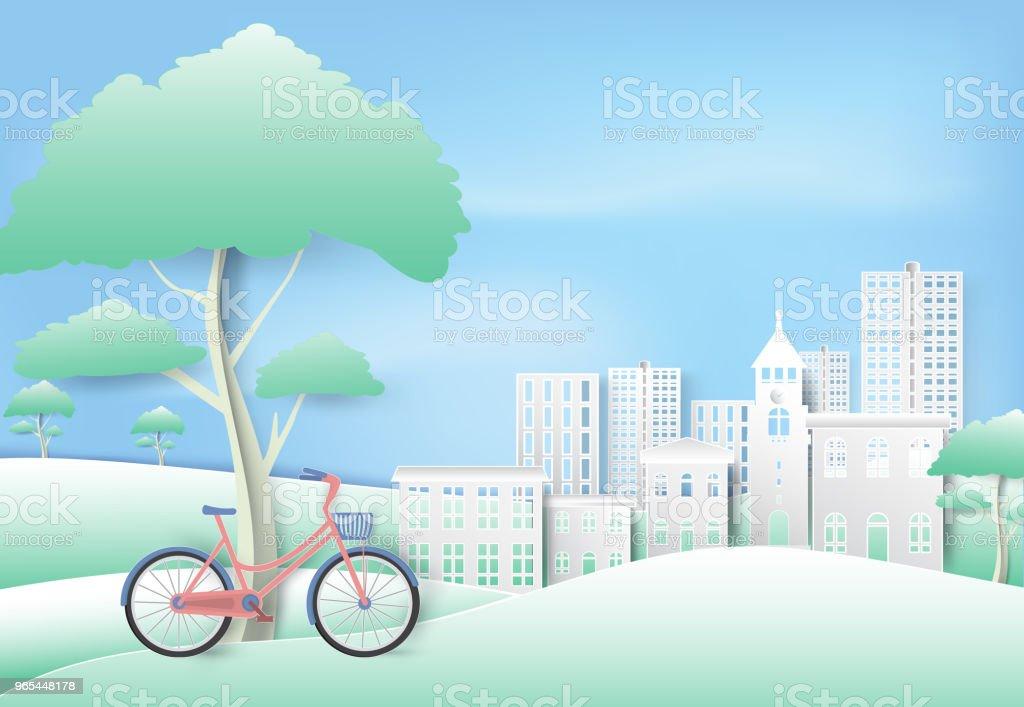Bicycle under the tree in park on blue sky paper art, paper cut style background bicycle under the tree in park on blue sky paper art paper cut style background - stockowe grafiki wektorowe i więcej obrazów biały royalty-free