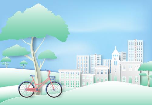 푸른 하늘 종이 예술 종이 컷된 스타일 배경에 공원에 나무 아래 자전거 경관에 대한 스톡 벡터 아트 및 기타 이미지