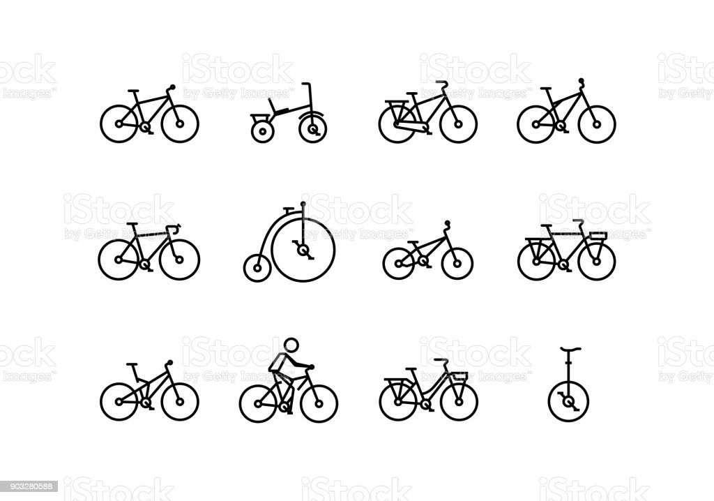 Bicycle vector icon set in thin line style with editable stroke vector art illustration