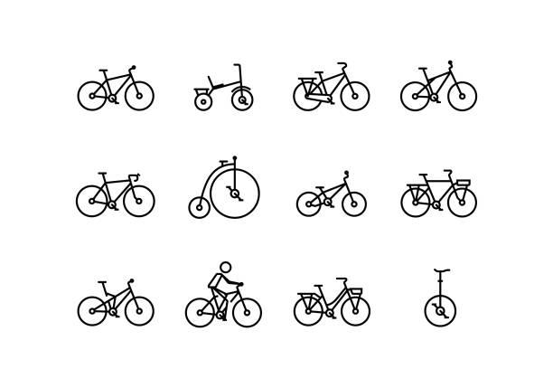 ilustraciones, imágenes clip art, dibujos animados e iconos de stock de icono de vector de bicicleta en estilo de línea fina con trazo editable - andar en bicicleta