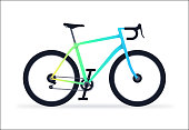 Modern bicycle cycle gradient rainbow colored frame speed mountain bike, offroad electric bicycle.