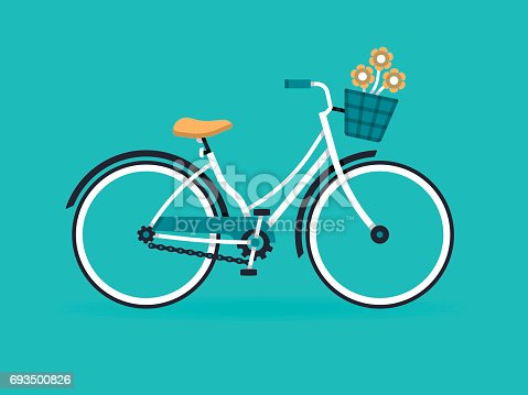 Bicycle with bicycle basket cruiser style.