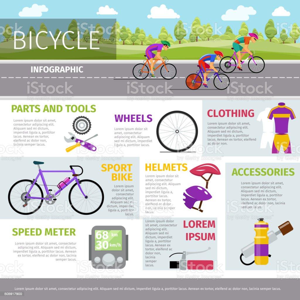 Bicicletas, infografía plantilla vector en estilo plano - ilustración de arte vectorial