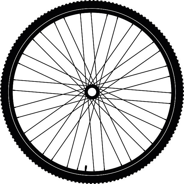 bicycle wheel black - bike stock illustrations, clip art, cartoons, & icons