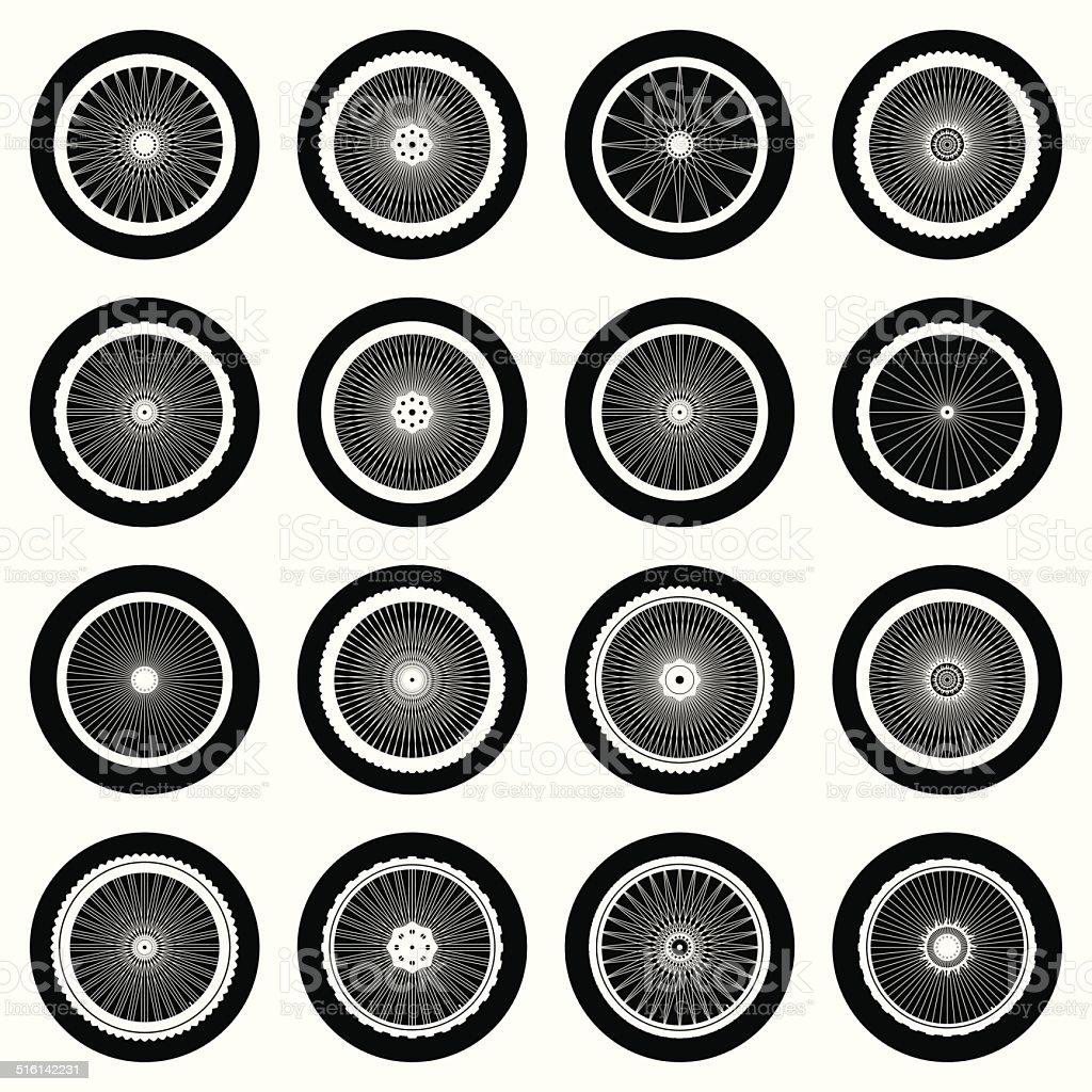 Bicycle wheel icon set. Vector Illustration vector art illustration