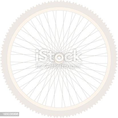 Simple silhouette of bicycle wheel suitable for background image. Looks great large and cropped off page. See companion images: