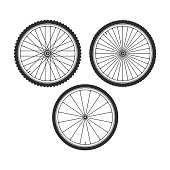 Bicycle wheel icons set. Bike rubber. Mountain tyre. Set with 3 different wheels. Vector illustration in flat style. EPS 10.