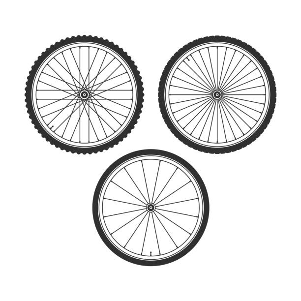 stockillustraties, clipart, cartoons en iconen met fiets wiel symbool. - uitgeput