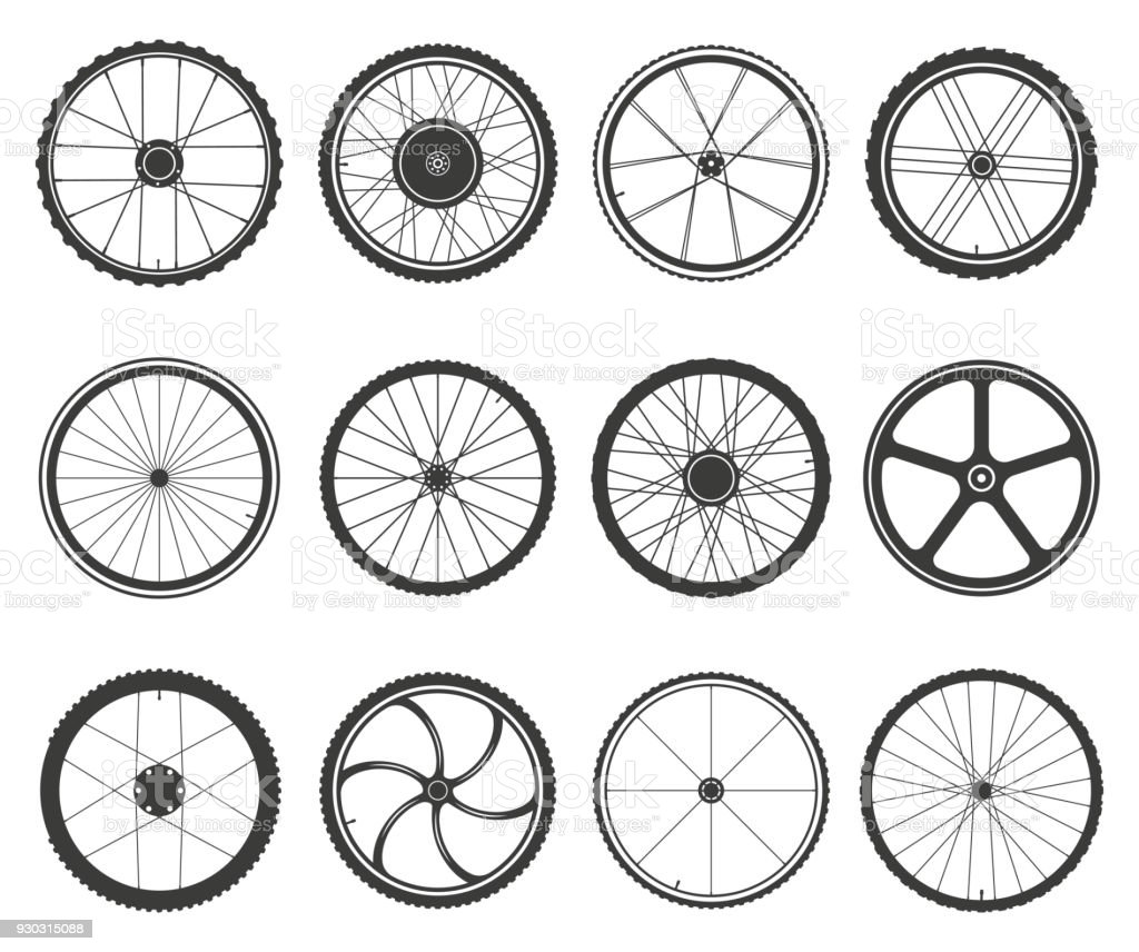 Bicycle wheels set vector art illustration