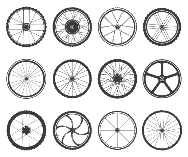 Bicycle wheels set Bicycle wheels set. Circular frame of hard material for vehicle, city, lightweight bike component. Vector flat style cartoon illustration isolated on white background tire vehicle part stock illustrations