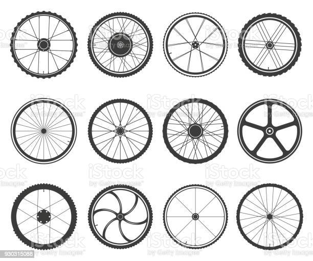 Bicycle wheels set. Circular frame of hard material for vehicle, city, lightweight bike component. Vector flat style cartoon illustration isolated on white background