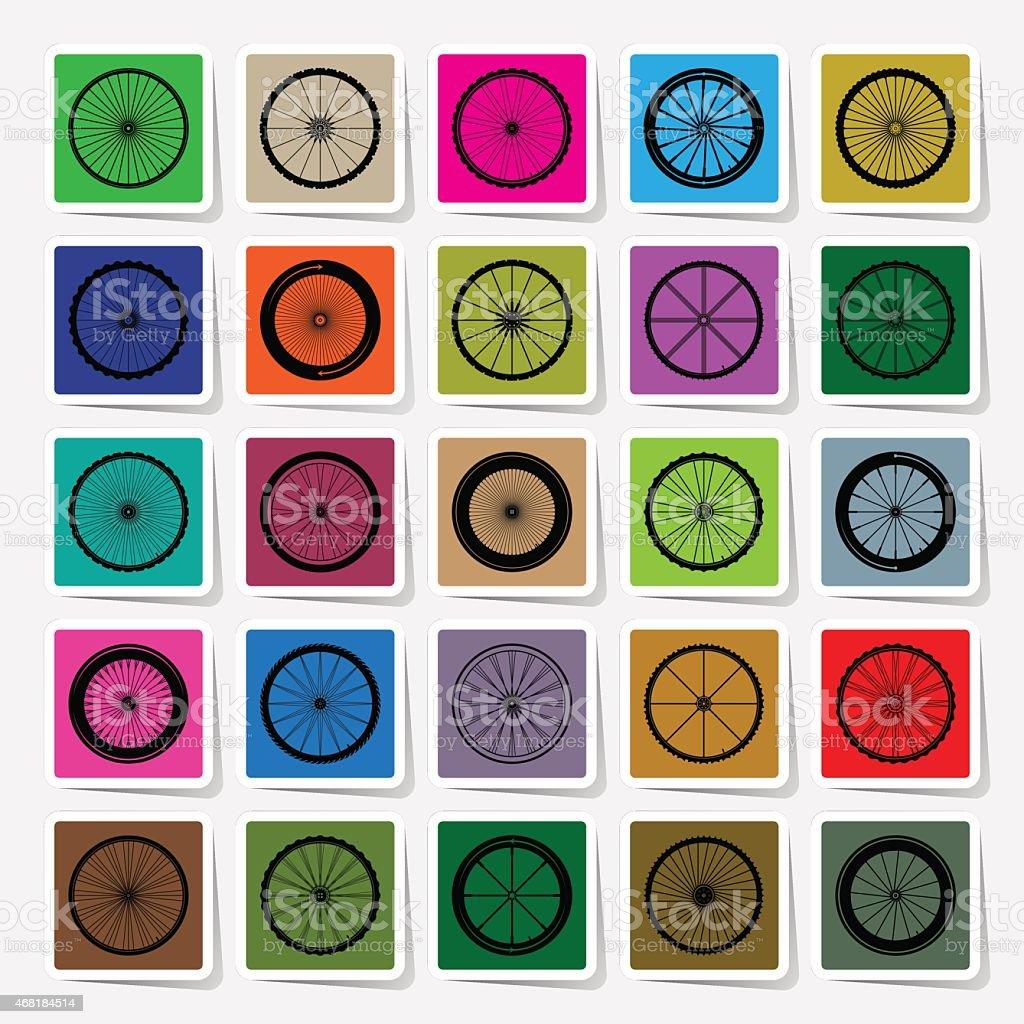 Bicycle wheels square sticker set vector illustration vector art illustration