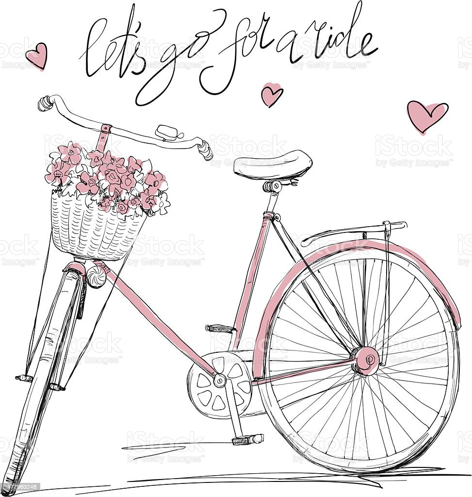Bicycle with a basket full of flowers royalty-free stock vector art