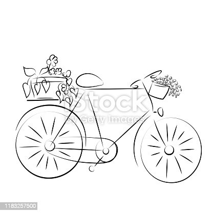 Bicycle with baskets of flowers on a frame in a French romantic retro style. Line art.