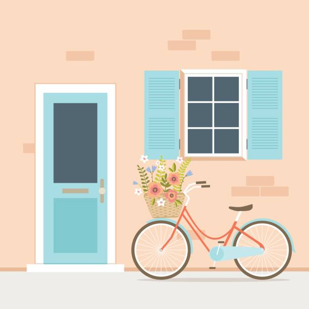 Bicycle with flower basket in front of house entrance Vector illustration of bicycle with flower basket in front of house facade with entrance door and window. front door stock illustrations