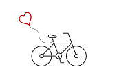 istock Bicycle with red heart shaped balloon. Line icon. Valentine's day card idea. Cute bike with flying heart. 1248722501