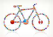 Bicycle with World Flag Buttons