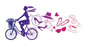 A girl rides a Bicycle. Silhouette cyclist. Paris. Vector hand drawn illustration. Fashion accessories.