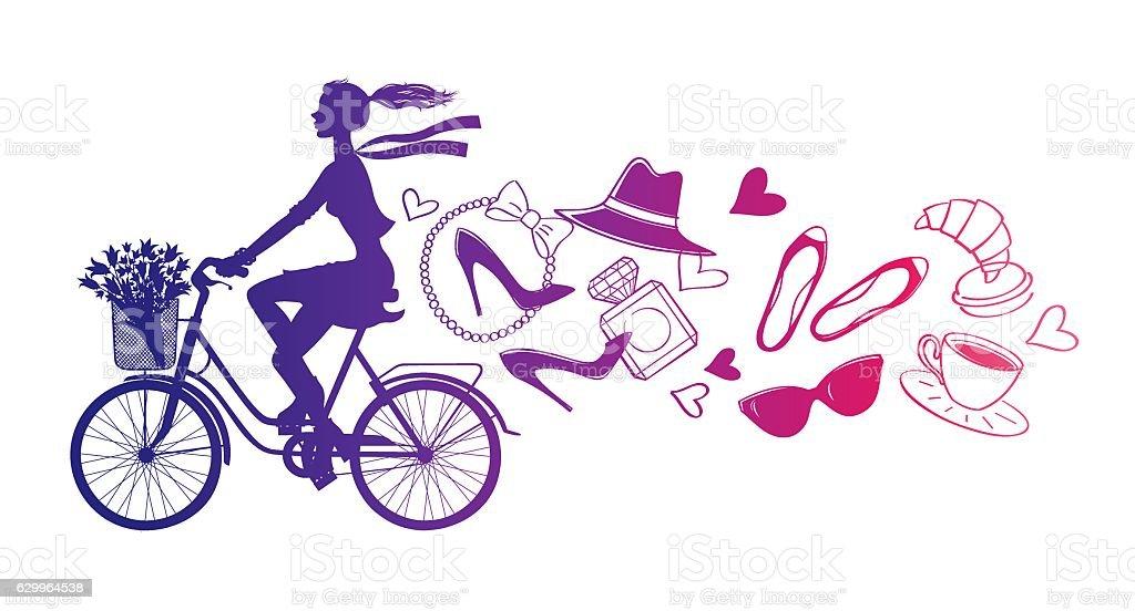 Bicycle_paris2 - ilustração de arte em vetor