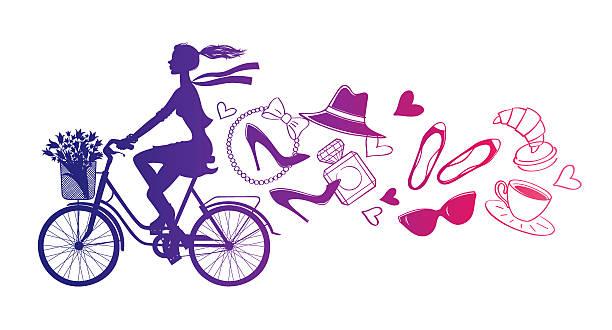 ilustrações, clipart, desenhos animados e ícones de bicycle_paris2 - moda parisiense