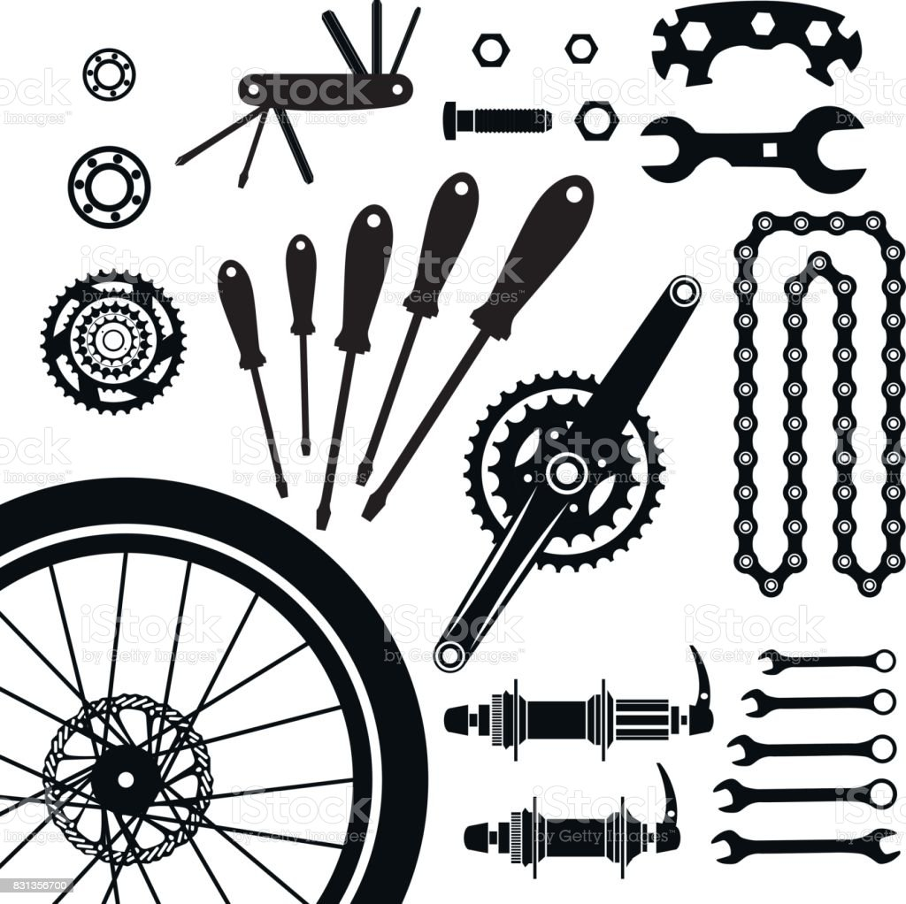 Bicycles. A set of bicycle parts. Vector. vector art illustration