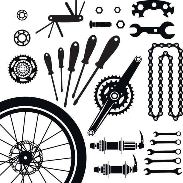 Fahrräder. Eine Reihe von Fahrradteilen. Vektor. – Vektorgrafik