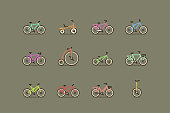 Bicycles. Colorful vector icon set