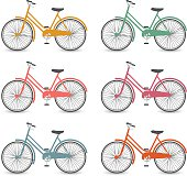 Bicycles icons set
