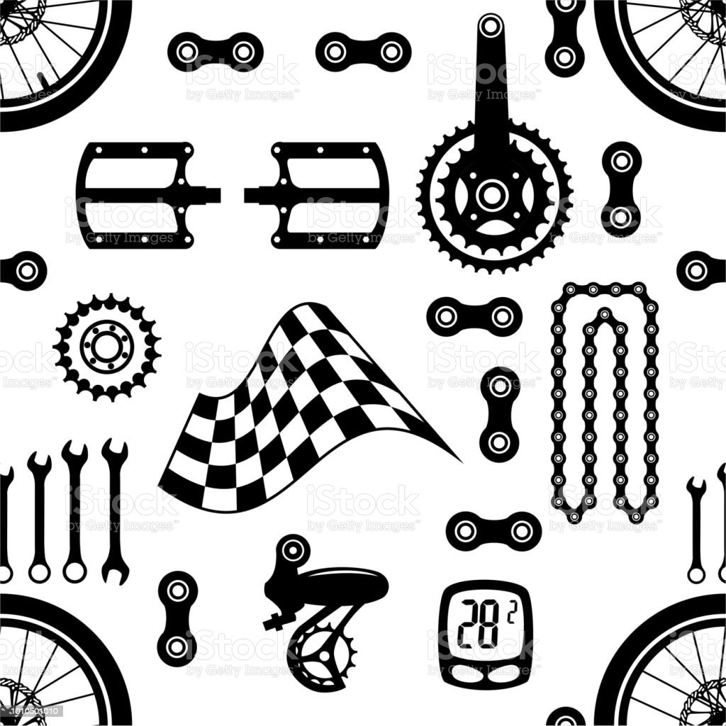Bicycles Seamless Vector Pattern With Bicycle Parts Stock Vector Art