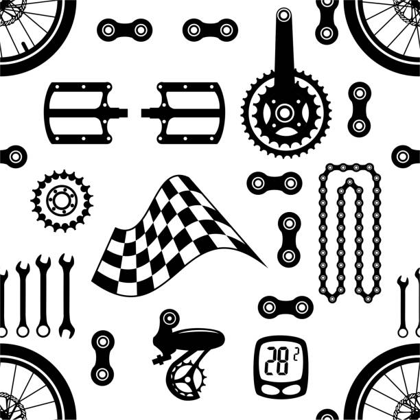 Fahrräder. Nahtlose vektormuster mit Fahrradteilen – Vektorgrafik