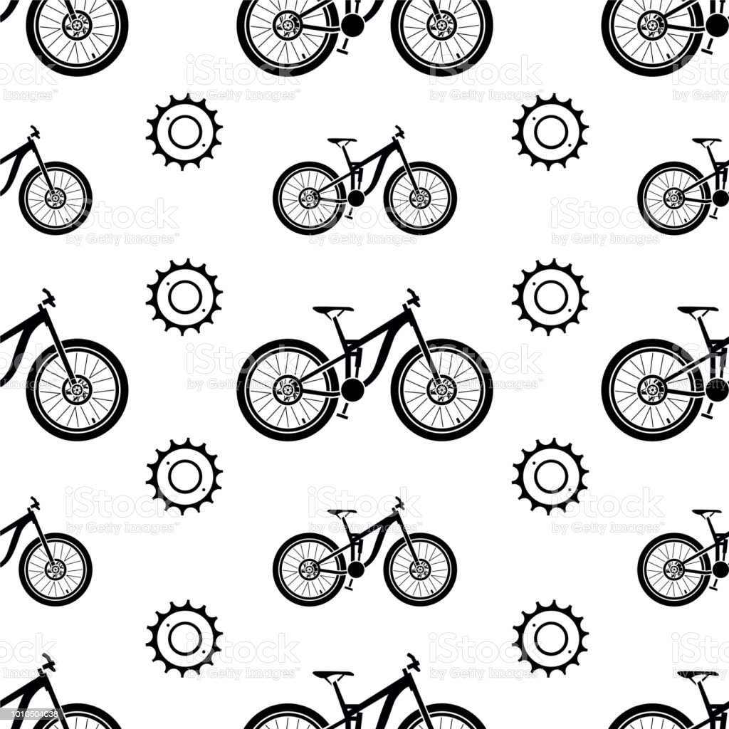 Bicycles Seamless Vector Pattern With Bicycle Parts Stock