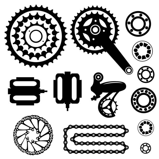 Fahrräder. Satz von Fahrradteilen – Vektorgrafik