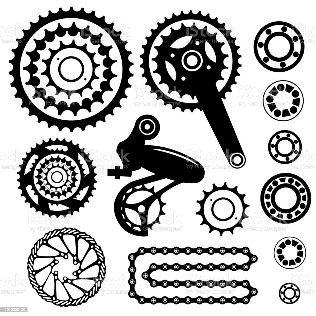 Bicycles Set Of Bicycle Parts Stock Vector Art More Images Of