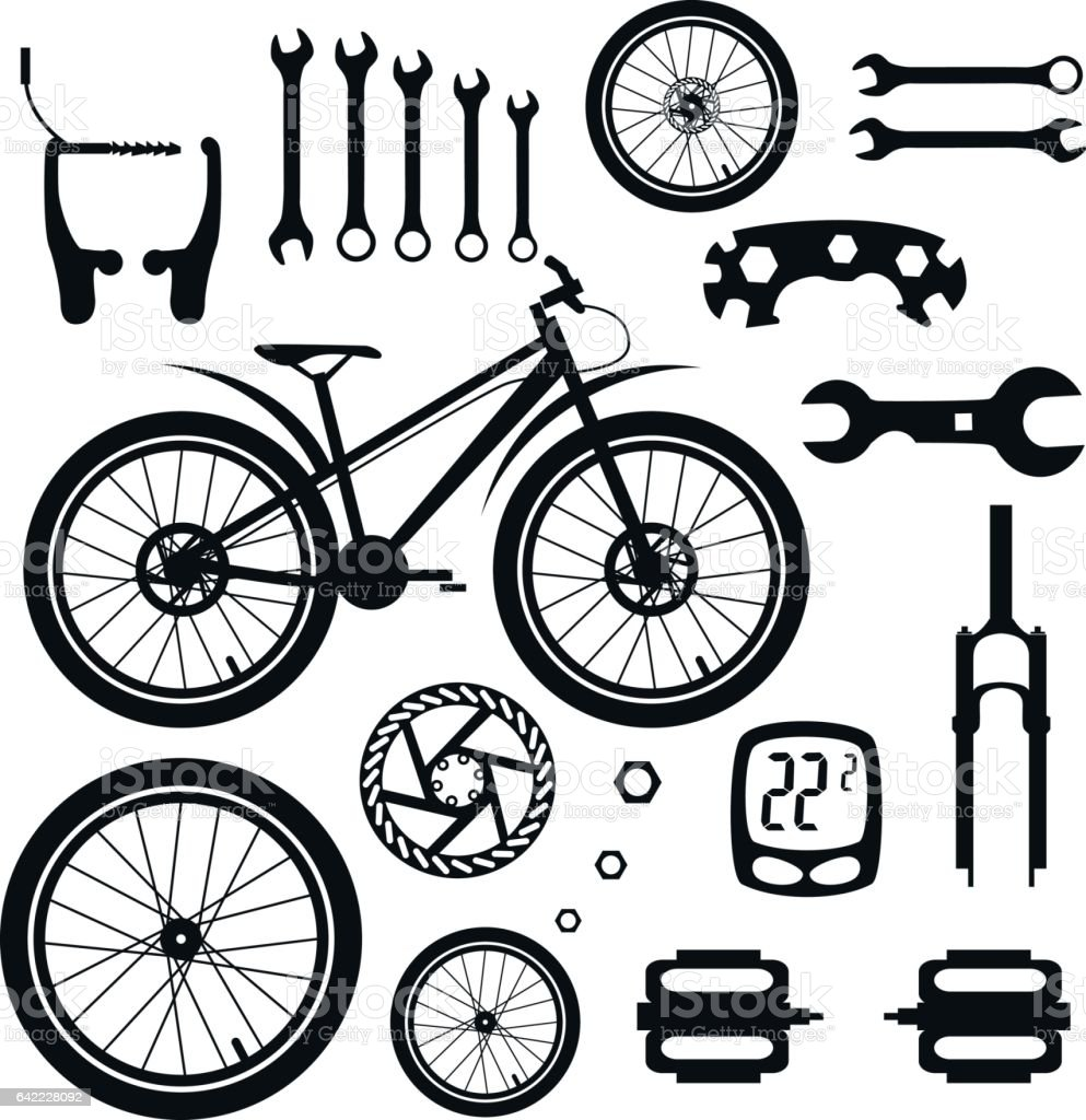 Ilustración de Bicycles Set Of Bicycle Parts y más Vectores
