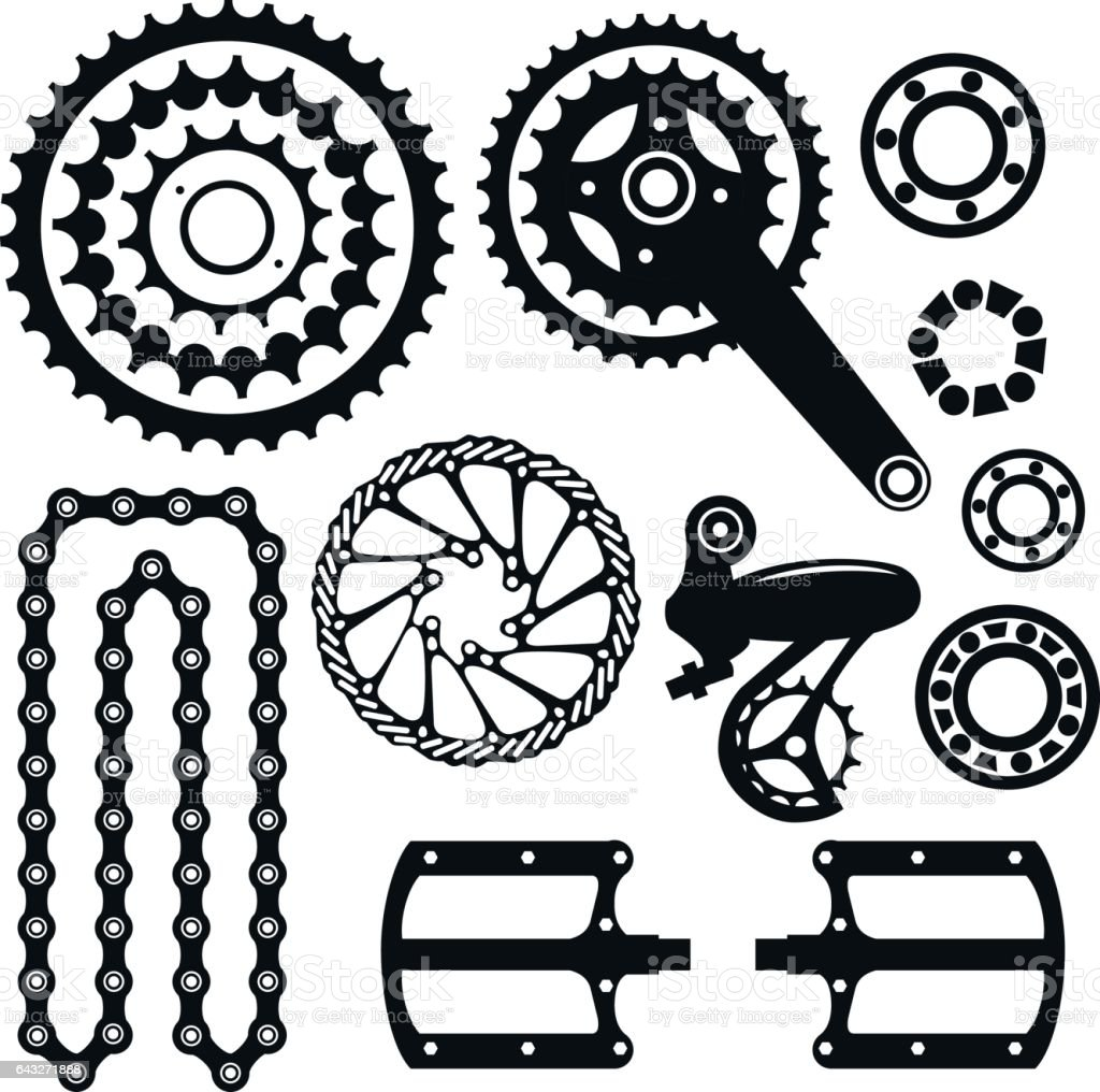 Bicycles. Set of bicycle parts vector art illustration