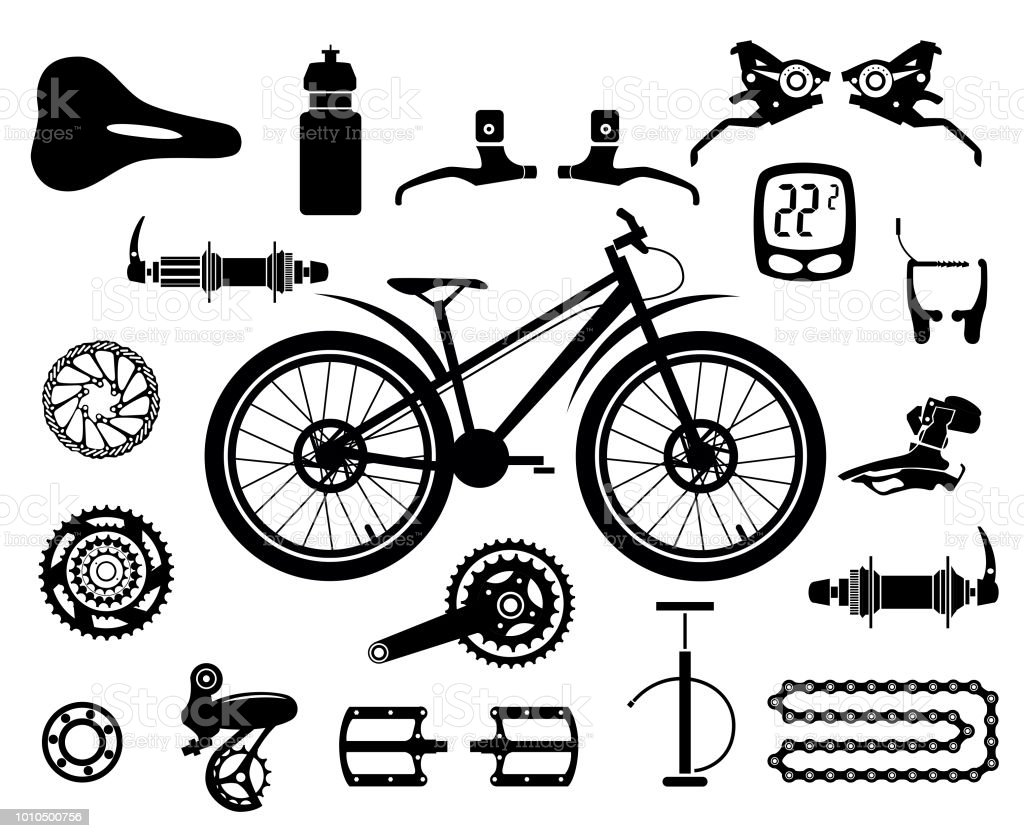 Bicycles Set Of Isolated Bicycle Parts Vector Image Stock Vector Art
