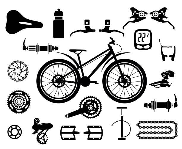 Fahrräder. Satz von isolierten Fahrradteile. Vektor-Bild. – Vektorgrafik
